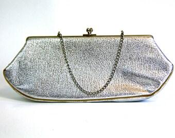 Vintage 60s Shiny Metallic Silver Handbag Metal Frame Kelly Bag Jackie-O Pocketbook Boxy Baguette Bag Top Handle Purse 1960s MAD MEN Handbag
