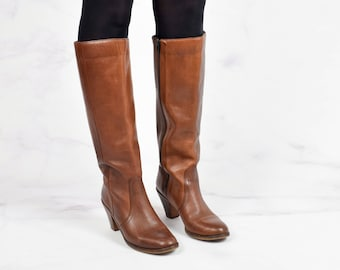 1970s Brown Leather Tall Boots with Stacked Wooden Heel Size 8 Women's