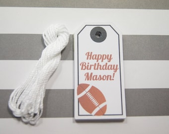 Birthday Tags Football Tags Gift Tags Wish Tree Tags Favor Tags Set of 12 Tags  Personalized - wip12