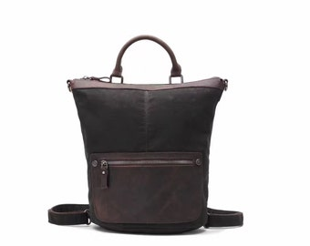 Convertible Mini Vintage style Leather Canvas Backpack/Crossbody - Black
