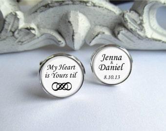 Cufflinks, Personalized Wedding Cufflinks, Infinity Cufflinks, Romantic Groom Gift