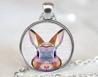 Rabbit Pendant, Geometric Rabbit Necklace, Rabbit Art Jewelry, Polygon Bunny Pendant, Rabbit Jewelry, Rabbit Art Pendant, Bronze Silver, 033