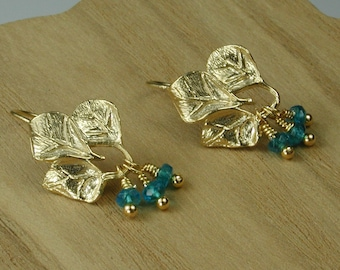 Gold Leaves with Apatite Earrings