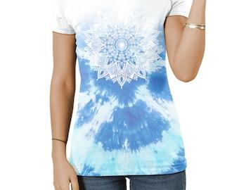 Blue Mandala Ladies ALL OVER Fashion Tshirt Hipster Top Tees Womens Girl Dope
