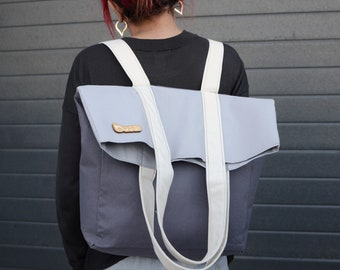 Grey backpack Convertible backpack Canvas Tote bag Canvas backpack Travel bag Shoulder bag Utility bag Convertible tote bag backpack purse