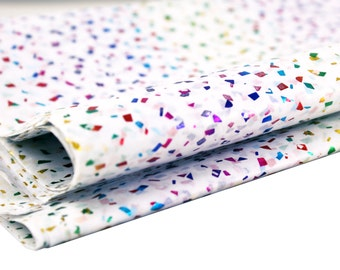 24 sheets of Tissue Paper -  Metallic RAINBOW Confetti flecks on White - 15 x 20 inch tissue for Packaging and Gift