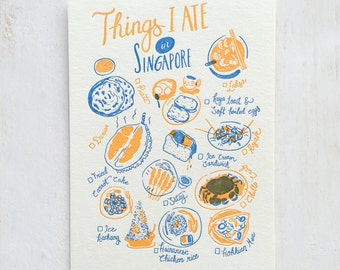 Things I Ate in Singapore Letterpress Postcard