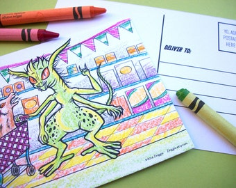6 Monster Coloring Postcards for kids, cryptozoology, greek mythology, legendary creatures, Frankenstein Chupacabra black and white, 4 x 6