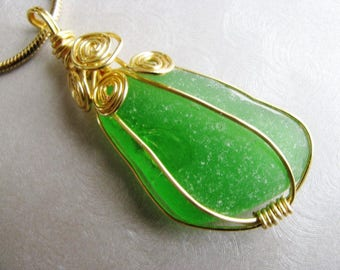 Kelly Green Sea Glass Necklace Gold- Gold Wire Beach Glass Pendant- Sea Glass-Green and Gold Wire Wrapped - Beach Glass Jewelry - Fancy Wrap