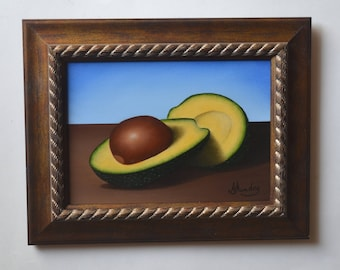 Original 5x7' acrylic avocado slice painting, small still life painting, tiny artwork, vegetable painting, kitchen painting, food miniature