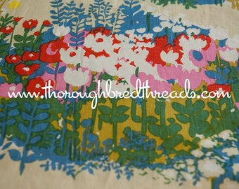 Wildflower Gardens  - Vintage Fabric New Old Stock Linen Upholstery