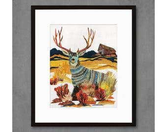 Mule Deer with Barn Art Print