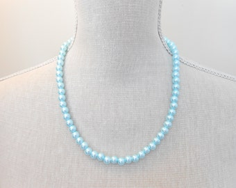 Pale Blue Pearl Necklace - Glass Pearl Jewelry - Pale Blue Necklace - Pale Blue Jewelry - Bridesmaid Necklace - Beaded Necklace