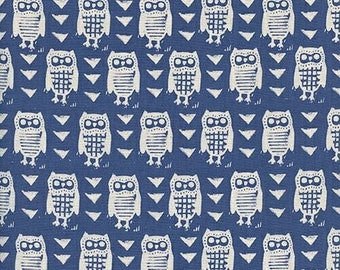 Cotton + Steel Firelight - Hooties in Blue - Unbleached Quilting Cotton - Alexia Abeggs - Fabric by the Yard - Owl Fabric