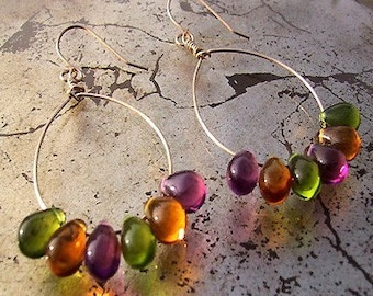 sorbet drops - gold hoop earrings with glass teardrops