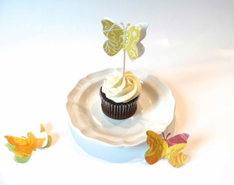 Large 3D Butterfly Cupcake Toppers, set 12 toppers, bridal shower decor, garden party accent, girls birthday party, designer toothpicks
