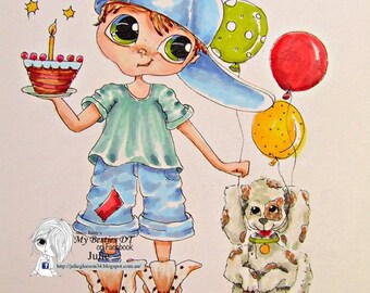 INSTANT DOWNLOAD  Digital Digi Stamps Big Eye Big Head Dolls img604 LaMouse April Bestie By Sherri Baldy
