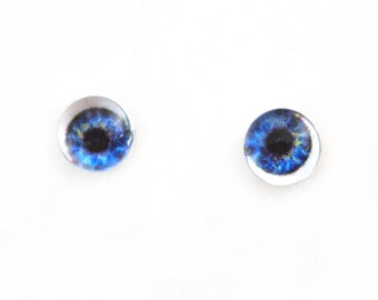 6mm Cobalt Blue Doll Glass Eyes Cabochons - Tiny Glass Eyes for Jewelry or Doll Making - Set of 2