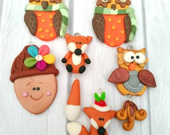 Set of 6 Polymer Clay Charms, Owls, Foxes, Acorn, Lot of Woodland Fall Pendants, Xmas Fox, Autumn Owls