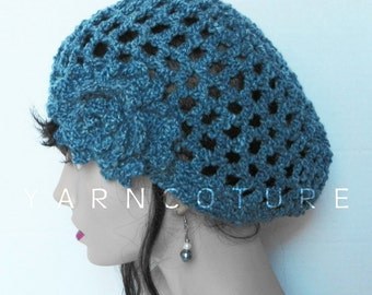 The Lace Cloche / Beanie / Crochet Hat With Crochet Flower, Denim Blue, Spring, Summer, Fall, Winter Fashion