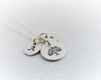 Family Tree Necklace - Mothers Necklace -Tree of Life Necklace - Initial Necklace