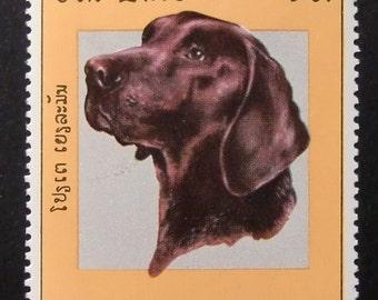 Labrador Retriever Dog -Handmade Framed Postage Stamp Art 13766