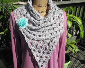 Crochet wrap, very versatile, many ways to wear, soft, lacy, cowl, scarf