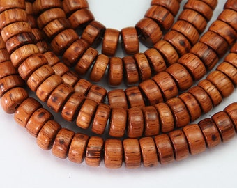 Bayong Beads, Brown, 10mm Heishi - 15 inch Strand - eW486-10x5