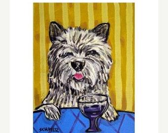25% off Cairn Terrier, cairn terrier art, cairn terrier print , wine, art ,  print , 11x14 print , painting , poster gift, modern folk