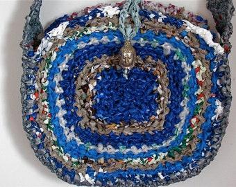 Crocheted plastic cool blue Buddha bag, Recycled plastic bag, Upcycled Buddha bag