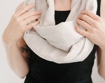 Linen Scarf - Linen Scarves - Infinity Scarf - Circle Scarf  - Linen - Gift