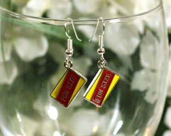 Fun Size Red and Yellow Halloween Candy Enamel Charm Earrings