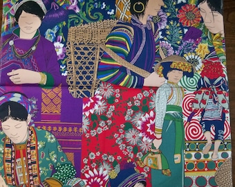 MANUEL CANOVAS CHINOISERIE Pillow Quilters Craft Fabric Remnant Multi Purple