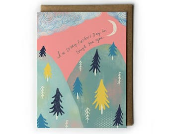Father's Day Greeting Card, Father's Day Empathy Card, Friendship Card, Mixed Media Greeting Card, Mountains, Woodland, A2, PNW Forest