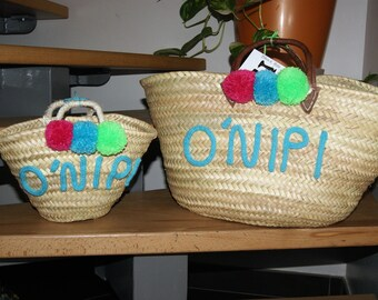 """Customizable Tote """"Mother / daughter"""" Knitting with tassels"""