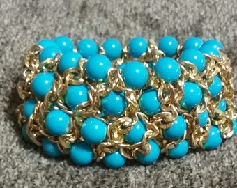 Turquoise Bead with Gold Chain Weave (#015)