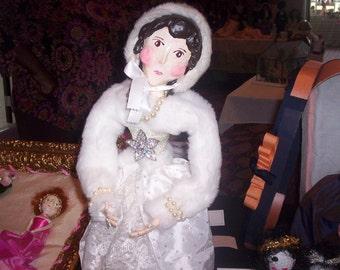 Leona Ashley Primitive OOAK Paper Mache/Cloth Doll