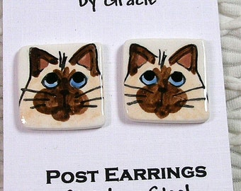 Seal Point Siamese Cat Post Earrings In Clay Handmade by Grace M. Smith