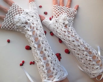 Crocheted Cotton Gloves L Ready To Ship Victorian Fingerless Summer Women Wedding Lace Evening Knitted Bridal Party White Corset Opera B55