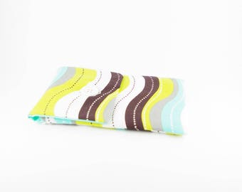 Turquoise, green and Brown fabric glasses case