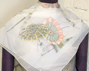 Oh So Dainty Vintage Scarf with Novelty Print of Parasols, Umbrellas, 1950s 1960s