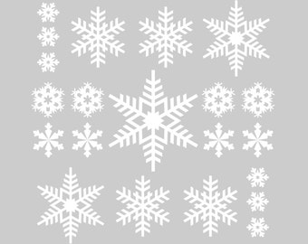 21 Vinyl Snowflake Decals for the Holidays | Christmas Winter Snowflakes Decorations