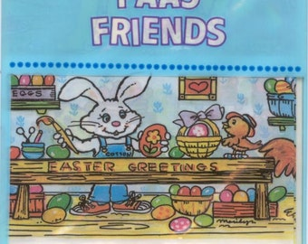 Vintage / PAAS (r) / Egg Arounds Heat Shrinkable Egg Wrappers / PAAS Friends (c) 1989 / Easter Egg Wraps / Egg Sleeves / Shrink Wraps