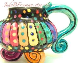 Ceramic Stoneware Mug Rainbow Striped Whimsical 8-10 Ounces Made to Order MG0035