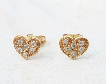 Gold heart studs ,14kt solid gold ,heart studs,gold earrings,dainty and small stud earrings ,cz earrings,gold heart ,dainty earrings
