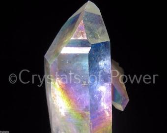 ONE Angel Aura Quartz Crystal Point Pendant! 2 inch / 50mm Drilled Points With 30'' Black Cord Included! aka Opal / Rainbow Aura!