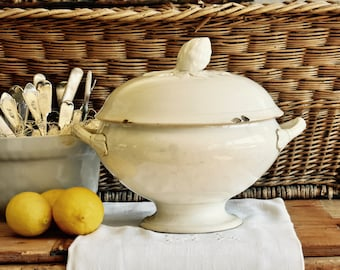 Lovely Old French Farmhouse Aged Cream Ironstone Tureen