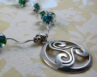 CELTIC DREAM spiral trinity sterling silver pendant with blue green coral lampwork teardrops necklace