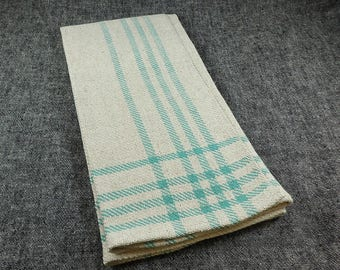 Handwoven Cotton and Linen Twill Dishcloth Kitchen Towels Natural and Aqua