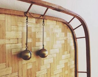 Drop dangle locket earrings    brass orbs   sphere jewelry   full moon   lunar brass earrings